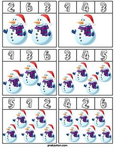 FREE! Snowman Clip Cards