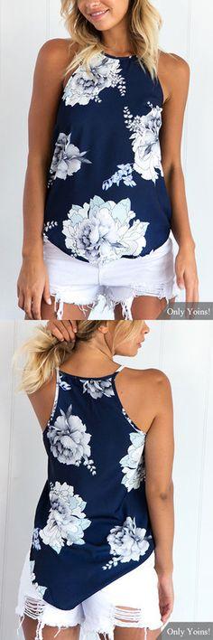 Random Floral Print Cami Top in Blue