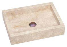 Lenova SV-26 Square Travertine Stone Sink Above Counter 19 X 14