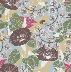 Svanpark (1316) - Boråstapeter Wallpapers - This design features an all-over leaf trail and images of a wild array of flora and fauna. Showing in brown, white, yellow, green and pink on a pale blue background. other colour ways available. Please request a sample for true colour match.