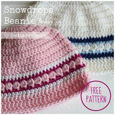 Snowdrops Crochet Beanie Tutorial Free Pattern
