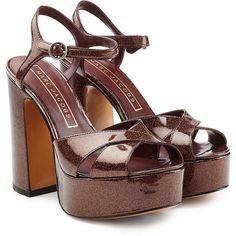 Marc Jacobs Leather Platform Sandals (11 625 UAH) ❤ liked on Polyvore featuring shoes, sandals, brown, thick heel sandals, brown sandals, ankle wrap sandals, ankle strap sandals and high heel platform sandals