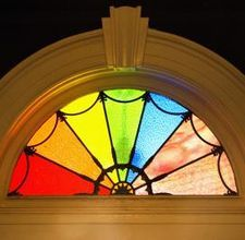 Stained Glass Pattern for Transom window-would like more blue though