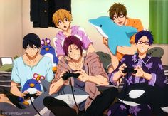 ERMAIGAWD~ Official art of my pajama-wearing Free boys playing VIDGEO GAMES?!?! :D ...ahhhhh~~ Yesh, that was a good fangasm. :3