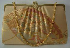 Gold and apricot brocade handbag or clutch purse, wedding purse,vintage Japanese, c.1987