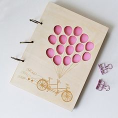 Rustic Wood Wedding Guest Book With Balloons And Bike Advice Laser Cut