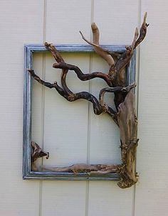 Decorative Tree Frame Wall Art Beach Decor Coastal Wall Hanging Driftwood Tree