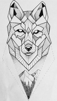 Geometric wolf dotwork on ink wolf tattoo design, geometric Wolf Tattoo Design, Wolf Design, Tattoo Designs, Geometric Wolf Tattoo, Geometric Drawing, Geometric Lines, Geometric Animal, Geometric Flower, Geometric Symbols