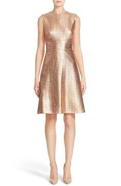 Main Image - Lela Rose Coated Metallic Seamed A-Line Dress
