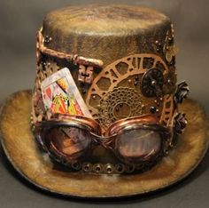 Idea for the ice container Bella's Scrappin' Space: Another Steampunk Hat Tutorial with a Mad Hatter theme! Arte Steampunk, Style Steampunk, Steampunk Top Hat, Steampunk Couture, Steampunk Crafts, Steampunk Cosplay, Steampunk Design, Steampunk Fashion, Victorian Fashion