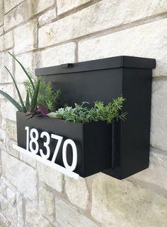 Drop Me A Line Mailbox Planter Modern Mailbox House Mailbox On House, Porch Mailbox, Mailbox Planter, Diy Mailbox, Modern Mailbox, Planter Boxes, Planters, Mailbox Ideas, Wall Mount Mailbox