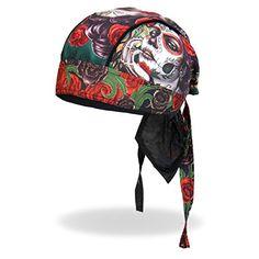 Hot Leathers Sugar Muerte Calavera Skull Roses Head Wrap Durag Skull Cap Biker