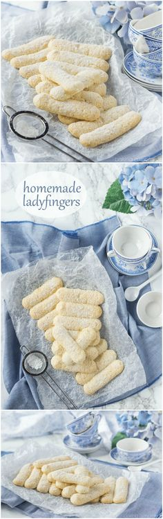 Ladyfingers Homemade Ladyfingers- I've always wondered how to make these! Next time I make tiramisu I'll use this recipe ;)Homemade Ladyfingers- I've always wondered how to make these! Next time I make tiramisu I'll use this recipe ; Cookie Desserts, No Bake Desserts, Just Desserts, Cookie Recipes, Delicious Desserts, Dessert Recipes, Cookie Table, Fancy Desserts, No Bake Cookies