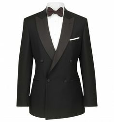 Hackett black double breasted Chelsea dinner jacket in a wool mohair classic style with satin peak lapel, classic dinner jacket, in a traditional weave, with satin buttons finely woven in Italy. Dinner Suit, Dinner Jacket, Tuxedo Suit, Tuxedo For Men, Double Breasted Tuxedo, Morning Dress, Mens Trends, Blazer Buttons, Occasion Wear