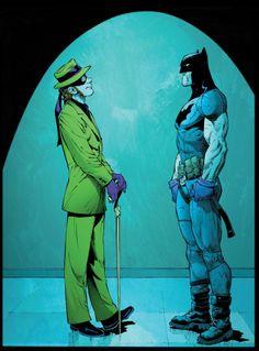 Batman #32 interior art by Greg Capullo * from Year Zero. Sleeveless, capeless Batman vs Riddler/Hamburgler.
