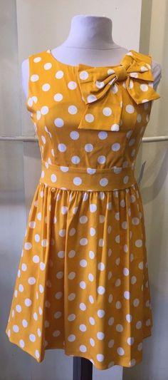 Modcloth Ixia Yellow Polka Dot Dress With Bow #Ixia