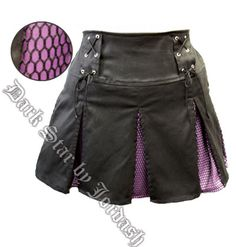 Dark Star Pleated Gothic Punk Purple & Black Mini Skirt with Net [DS/SK/5455] - $35.99 : Mystic Crypt, the most unique, hard to find items at ghoulishly great prices!