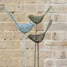 Buy Wire bird on a stake - sky blue: Delivery by Waitrose Garden in association with Crocus