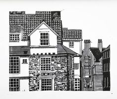 Original Linocut Proof Print - John Knox House, Royal Mile, Edinburgh by Maria Doyle