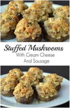 Stuffed Mushrooms With Cream Cheese And Sausage Appetizer - minus bread crumbs Sausage Appetizers, Finger Food Appetizers, Yummy Appetizers, Appetizer Recipes, Samosas, Empanadas, Stuffed Mushrooms Cream Cheese, Stuffed Mushroom Recipes, Low Carb Stuffed Mushrooms