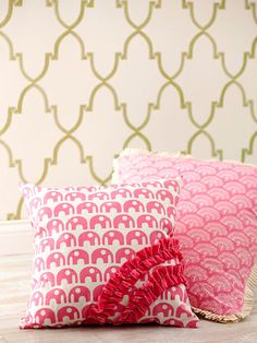 Flirty Pillows: DIY Tip:  Create ruffles from ribbon by sewing two rows of basting stitches 1/4 inch apart down the center of the ribbon, leaving long trends. Pull the bottom threads to gather into ruffles.