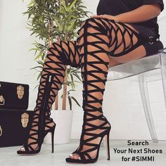 Black Thigh-high Caged Gladiator Heels Sexy Sandals with Zipper for Party, Night club, Music festival, Ball Thigh High Boots Heels, Sexy High Heels, Heeled Boots, Boot Heels, Pointy Boots, Knee Boots, Botas Sexy, Gladiator Heels, Gladiators