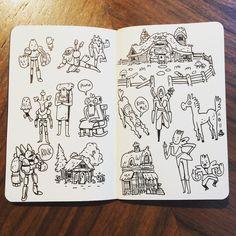 #rock #plant #people #cabin #doodles