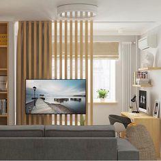 Перегородка с телевизором Living Room Partition Design, Room Partition Designs, Room Partition Wall, Home Room Design, Living Room Designs, House Design, Small Apartment Interior, Living Room Interior, Living Room Tv Unit