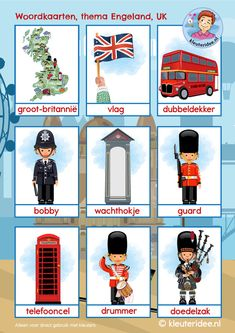 Woordkaarten Engeland UK 1, kleuteridee, free printable Learn Dutch, Learn English, Primary English, Dutch Language, Telephone Booth, Country Crafts, Classroom Themes, United Kingdom, Preschool Crafts