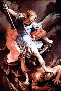 I'm not Catholic, I just always liked the image of Michael the Archangel beating down the devil.