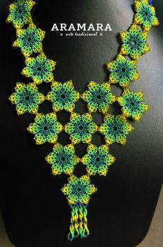Collar mexicana Huichol flor de collar y pendientes conjunto