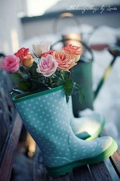 Polka dot rubber boots with roses ugg Cyber Monday View More: www.yi5.org