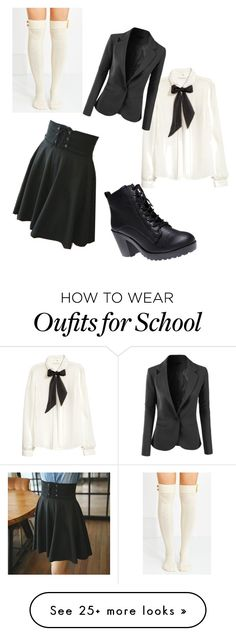 """""""Dark """"School Girl"""" Anime Inspired Outfit"""" by musicovertheborders on Polyvore featuring Envy Look, H&M, Wet Seal and LE3NO"""