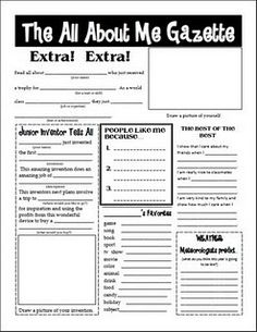 The All About Me Gazette - fun idea for the first week of schools! (Freebie)