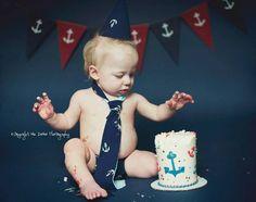 Nautical anchor themed smash cake boys first birthday photo shoot by Mia DeMeo photography