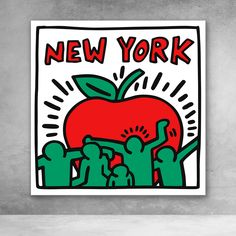 New York Keith Haring pop art canvas graffiti print Keith Haring Kids, Keith Haring Poster, Keith Haring Prints, Graffiti Wall Art, Graffiti Prints, Graffiti Lettering, Art Pop, Posca Art, Modern Pop Art