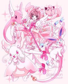 Sakura Kinomoto x Pokemon Cardcaptor Sakura, Tomoyo Sakura, Pokemon Fan Art, O Pokemon, Pokemon Fusion, Pokemon Cards, Pokemon Crossover, Anime Crossover, Kawaii Anime