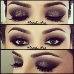 Here is another make up of the day look. It is a very dark with light sparkle eye make up look. This is perfect for a date night. I find all these make up Night Makeup, Kiss Makeup, Prom Makeup, Wedding Makeup, Hair Makeup, Sparkle Makeup, Makeup Eyeshadow, Eyeshadows, Glitter Eyeshadow