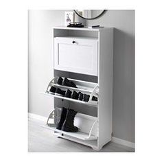 IKEA - BRUSALI, Shoe cabinet with 3 compartments, white, , Helps you organise your shoes and saves floor space at the same time.You can easily adjust the space in the shoe compartments by moving or taking away the dividers.In the shoe cabinet your shoes get the ventilation and the space they need to keep them like new for longer.