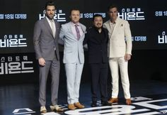 "Director Justin Lin, second right, poses with actors, from left, Zachary Quinto, Simon Pegg and Chris Pine, during a promotional event for their latest film ""Star Trek Beyond"" in Seoul, South Korea, Aug. 16, 2016."