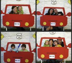 Race Car Birthday Party - Photo Booth - Cardboard Car Cutout Idea #forthekids #carlovers #futurehoseltoncustomers