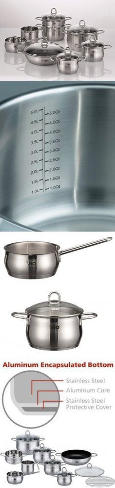 ELO Platin Stainless Steel Kitchen Induction Cookware Pots and Pans Set with Shock Resistant Glass Lids, Easy-Pour Rim and Integrated Measuring Scale, 14-Piece