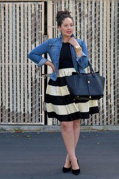 Girl With Curves: Striped curvy fashion - plus size fashion Fashion Mode, Curvy Girl Fashion, Plus Size Fashion, Womens Fashion, 50 Fashion, Fashion Fall, Fashion Styles, Cheap Fashion, Ladies Fashion