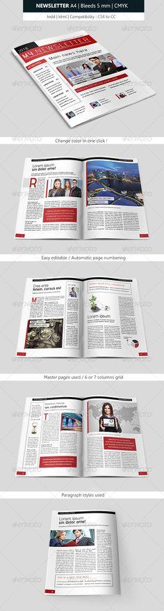 Creative Indesign Newsletter Template Design  #graphicriver