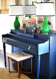 A favorite navy project is this piano done by lifestyle blogger Holly of Love The Tompkins. Holly used Napoleonic Blue Chalk Paint® and Dark Chalk Paint® Wax to refinish a piano she snagged on a local buy/sell/trade page for a mere $30. Isn't the final result simply stunning?