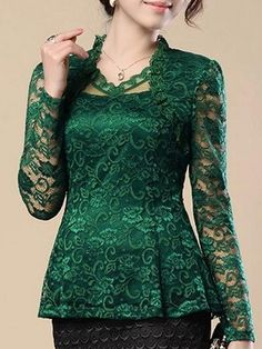 4 Color Ruffled Lace Plain Cowl Neck Solid Plain Blouse is hot sold on ByChicStyle, T-shirts & Blouses,Blouses with high quality guaranteed and fashion elements contained. Lace Outfit, Lace Dress, Kebaya Lace, Dress Brokat, Batik Dress, Skirt Fashion, Fashion Blouses, Chiffon Tops, Lace Tops