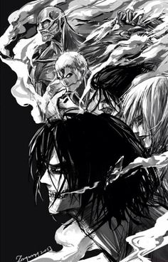 Eren, Annie, Ymir, Reiner, Berthold:: the shifters; core--- Attack on titan; Shingeki no kyojin Ymir, Attack On Titan Funny, Attack On Titan Fanart, Attack Titan, Manga Art, Manga Anime, Anime Art, Otaku E Otome, Mikasa