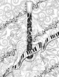 Adult Coloring Page Printable Adult Guitar by JuleezGallery