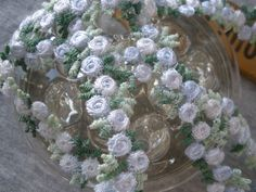 """Embroidered Floral 1/2"""" Rayon Venise Lace trim shade periwinkle color Rose chain applique white & green leaves by the yard embellishment by kabooco on Etsy"""