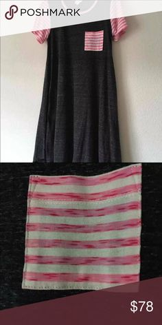 "Lularoe ""Carly"" ""Lularoe Carly"" Dark Heather Grey w/Pink & White Stripes💕💕 This is super-soft! I purchased 2 of them and they just don't work for me. 🖤🖤 NWT (I paid above retail) LuLaRoe Dresses Midi"